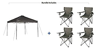 Ozark Trail Instant 10×10 Durable, Outdoor, Camping, Straight Leg Canopy with 4 Grey Chairs Value Bundle