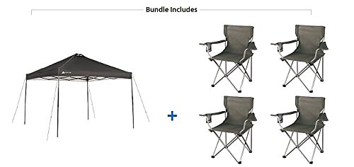 Ozark Trail Instant 10×10 Durable, Outdoor, Camping, Straight Leg Canopy with 4 Grey Chairs Value Bundle Review