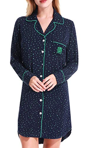 Long Sleeved Pajamas Blouse Ladies Casual Shirts and Pockets by Nora TWIPS(Drak Blue with Green Star,S)