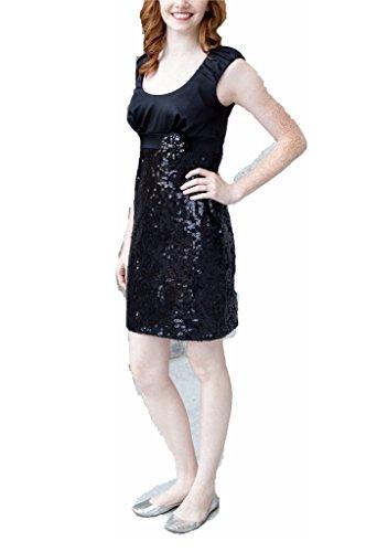 amp; 6 B Coctail Sequin Black Gown Satin Size Chetta tFqBFv