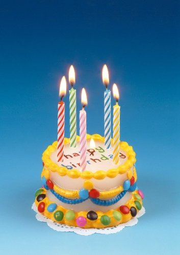 Bunte Geburtstagskerze als Happy Birthday Torte