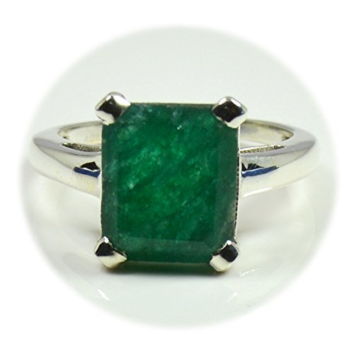 Stone Ring Genuine (55Carat Genuine Indian Emerald Silver Ring For Women Emerald Cut Healing Handmade Size 5,6,7,8,9,10,11,12)