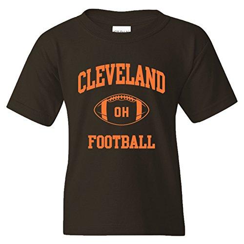 (Cleveland Classic Football Arch American Football Team Sports Youth T Shirt - Medium - Brown )