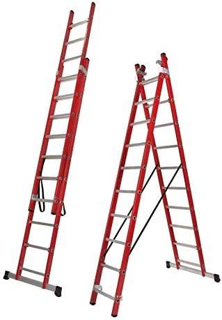 Escalera Transformable Dos Tramos de Fibra de Vidrio (3,5 Mts (2 Tramos de 12 Peldaños)): Amazon.es: Bricolaje y herramientas