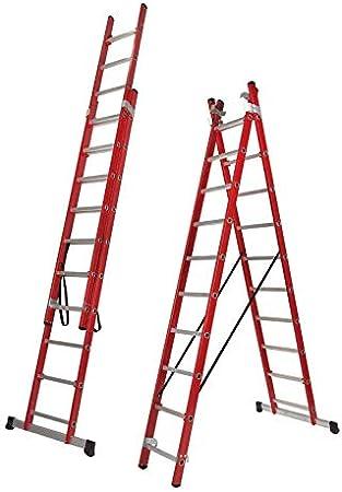 Escalera Transformable Dos Tramos de Fibra de Vidrio (2,5 Mts (2 Tramos de 9 Peldaños) BTF-EDFE6725: Amazon.es: Bricolaje y herramientas