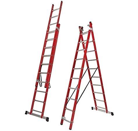Escalera Transformable Dos Tramos de Fibra de Vidrio (3,0 Mts (2 Tramos de 10 Peldaños)): Amazon.es: Bricolaje y herramientas