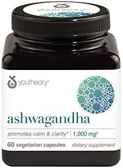 Youtheory Ashwagandha 60 Count (1 Bottle)