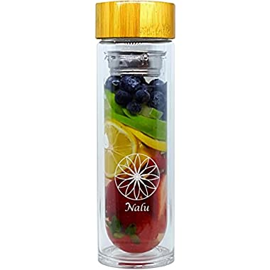 NALU SUN Tea Infuser Tumbler, Fruit Infusion Glass Bottle & Coffee Brewer - Stainless Steel 2-stage Filter/Strainer and No Plastic! 15.8 Ounces