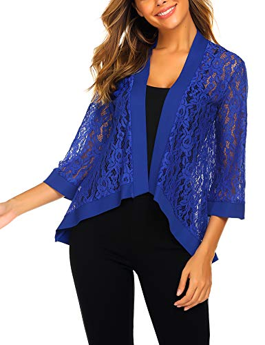 Dealwell Women's Lace Cardigan Lightweight 3 4 Sleeve Dressy Shrug Summer Jacket Blue, Medium