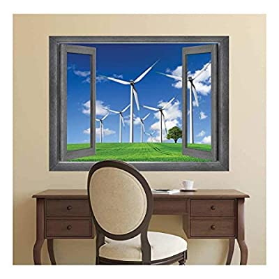Magnificent Portrait, Classic Design, Open Window Creative Wall Decor Windmills on The Country Side Wall Mural