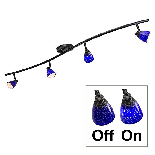 Fixed Track (Direct-Lighting 4 Lights Fixed Track Lighting Kit - Dark Bronze Finish - Blue Glass Shade - Wave Bar - D268-44C-DB-BLS)