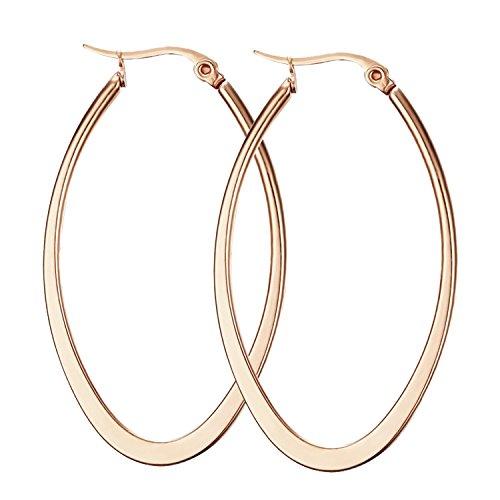 Nanafast Titanium Stainless Steel Oval-shaped Large Hoop Earrings for Women Rose Gold