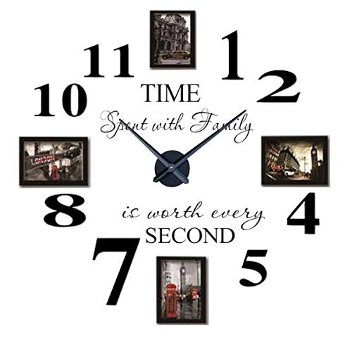 - Reliable_E Inspirational Quotes Wall Sticker Photo Frame DIY 3D Wall Clock for Home Decor (black)