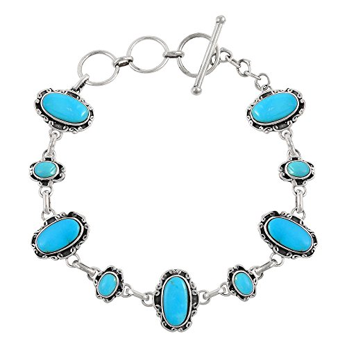 Turquoise Link Bracelet Sterling Silver 925 Genuine Turquoise (SELECT from (Artisan) by Turquoise Network