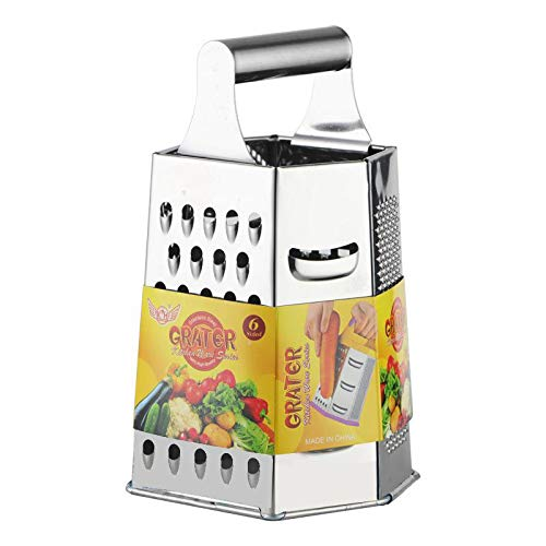 Wooany Kitchen Cheese Grater - Multi Hand Boox Grater - 6 sides Stainless Steel Pro-Grater