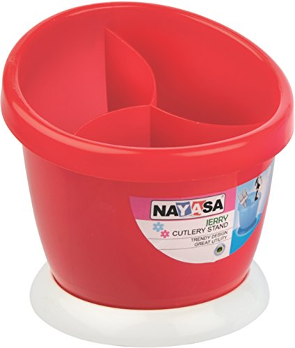 Nayasa Jerry Plastic Cutlery Stand, Red