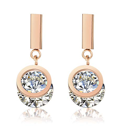 YKJURLY Womens 18k Rose Gold Pendant Stud Earrings Stainless Steel Earrings Double Circle AAA Cubic Zirconia Inlaid Drop ()