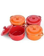 LIFVER Ramekins with Lids, 7 oz Ceramic Souffle Dish, Mini Casserole, Ramekins, Small Oven Bowls, Ramekin Bowl, Dip Bowls, Brie Bowl, Set of 4, Red & Orange, Round
