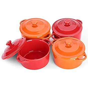 LIFVER 7 Ounces Ceramic Ramekins for Baking, Mini Casserole with Lid, Souffle Dish, Set of 4, Red Orange
