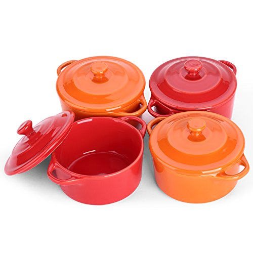 LIFVER 7 Ounces Ceramic Ramekins for Baking, Mini Casserole with Lid, Souffle Dish, Set of 4, Red Orange