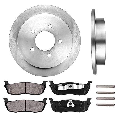 (REAR 334.01 mm Premium OE 5 Lug [2] Brake Disc Rotors + [4] Ceramic Brake Pads + Clips)