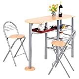 Giantex 3 Piece Pub Dining Set, 3-Tier Metal Storage Shelves with Wine Rack Design, 2 Folding Chairs for Easy Storage, Counter Height Dining Table Set for Kitchen, Dining Room, Living Room For Sale