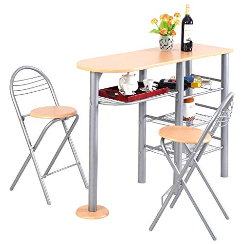 Giantex 3 Piece Pub Dining Set, 3-Tier Metal Storage Shelves with Wine Rack Design, 2 Folding Chairs for Easy Storage, Counter Height Dining Table Set for Kitchen, Dining Room, Living ()