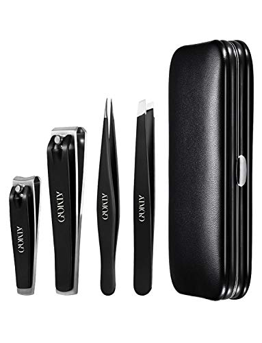 - Nail Clippers Set, Atmoko Manicure Set with Pedicure Kits, High Precision Stainless Steel Slanted Pointed Tweezers and Leather Travel Case for Eyebrow Plucking & Nail Trimming