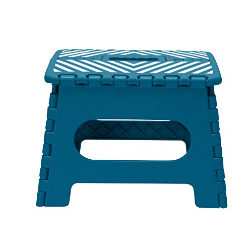 Simplify 23650-SAPPHI Folding Step Stool-Lightweight, Sturdy and Safe, Carrying Handle, Easy to Open, for Kitchen, Bathroom, Bedroom, Kids or Adults, Single, Sapphire
