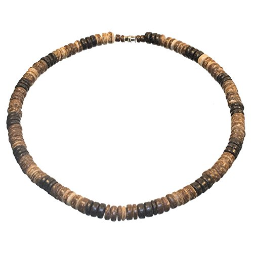 Surfer Necklace Made from Alternating Black, Dark Brown, and Tiger Brown Coco Pukalet Beads with Barrel Lock (18 IN)
