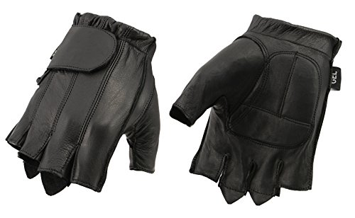 - M Boss Apparel BOS37565 Men�s Black Full Panel Leather Fingerless Glove with Gel Padded Palm - 5X-Large