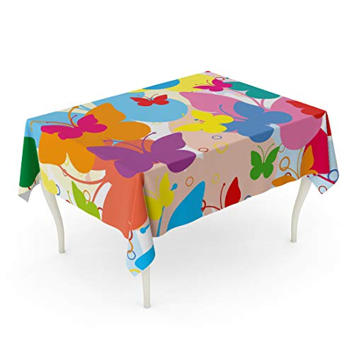 Semtomn Rectangle Tablecloth Blue Girly Vivid Butterflies Colorful Butterfly Summer Holliday Animal 60 x 90 Inch Home Decorative Waterproof Oil-Proof Printed Table Cloth ()