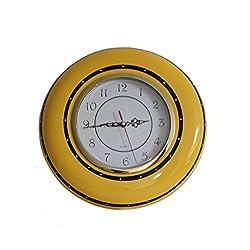 Tuscany Ruffle Butterscotch Yellow, Hand Painted Ceramic,Wall Clock, 85592 by ACK
