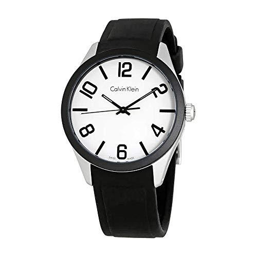 Calvin Klein Men's Aluminum Case Black Silicone Band Watch, K5E51CB2