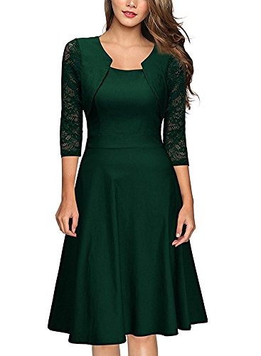 BeneGreat Women's Square Neck 3/4 Floral Lace Sleeve Work Cocktail Party Swing Dress (XL, Green)