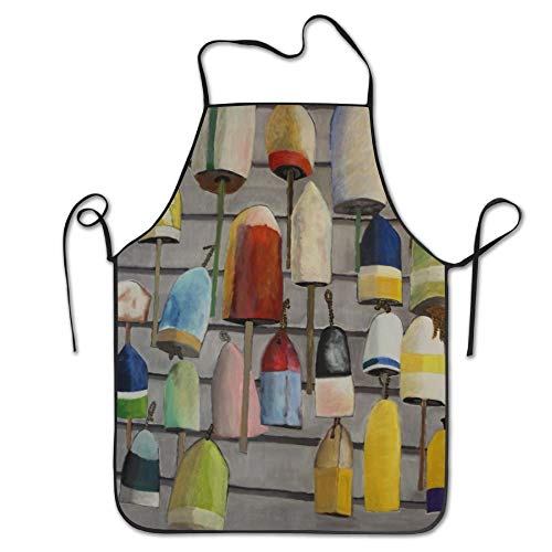 ginarew Cool Buoy Painting Nautical Deluxe Aprons Personalized Printing Kitchen Apron
