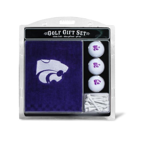 Wildcats Embroidered Tri Fold - Team Golf NCAA Kansas State Wildcats Gift Set Embroidered Golf Towel, 3 Golf Balls, and 14 Golf Tees 2-3/4
