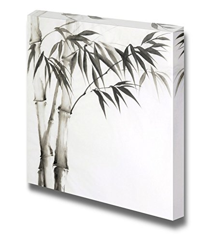 wall26 - Canvas Prints Wall Art - Chinese Bamboo Painting on a Plain White Background | Modern Wall Decor/Home Decoration Stretched Gallery Canvas Wrap Giclee Print. Ready to Hang - ()