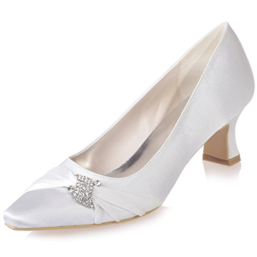 Party Bridal For Pointed Shoes With 5 7 Wedding Satin Uk Heels Girls Shoe Size Szxf0723 Low Evening Uk Rhinestone 04 Women White 4 Toe Glitter Sarahbridal EYZqw0zx