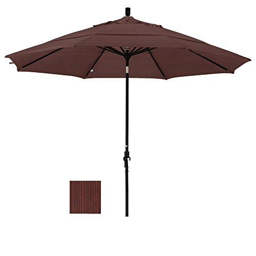 - Eclipse Collection 11' Aluminum Market Umbrella Collar Tilt Matted Black/Olefin/Terrace Adobe/DWV