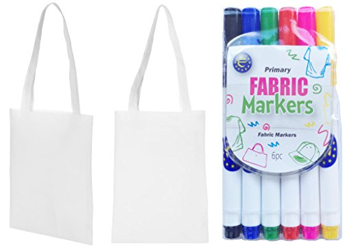 Mini 5 to Pens 5 Shopper Bags Tote Design White with Fabric Ideal Colours Party Bags Pack 55xrw4A