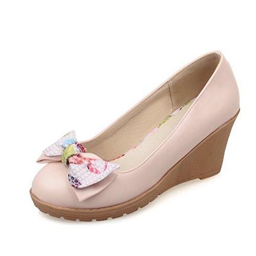 Balamasa Dames Gesponnen Goud Strik Laag Uitgesneden Bovendeel Kleuraanpassing Dikke Onderkant Hak Geïmiteerd Lederen Pumps-schoenen Roze