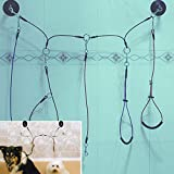 Pssopp Pet Bathing Tether Straps Dog Cat Shower Bathing Steel Cable Double Clasp Dog Grooming Cable Dog Tub Choker Pet Bathing Suction Tether with 3 Loop