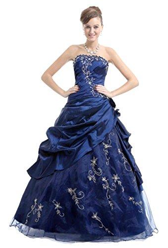 Vantexi Damen Trägerlos Taft Abendkleid Prom Ballkleid Quinceanera Kleider Blau urCPld