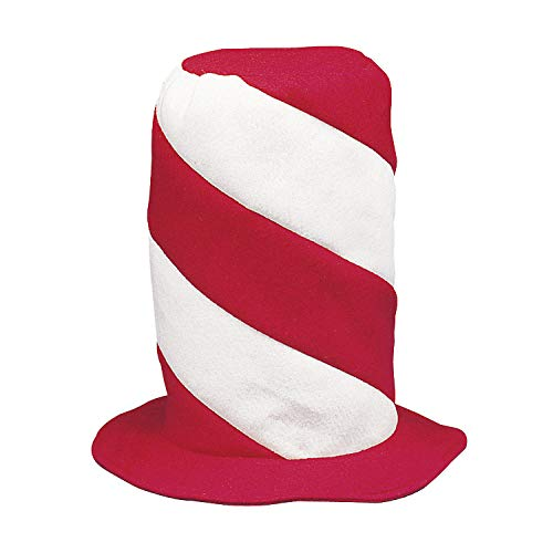 Fun Express Red and White Swirl Stovepipe Hat - Costume Accessories