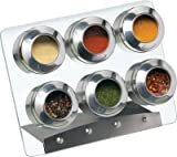 Magnetic Spice Rack Set - 6 Jars and Magnetic Rack