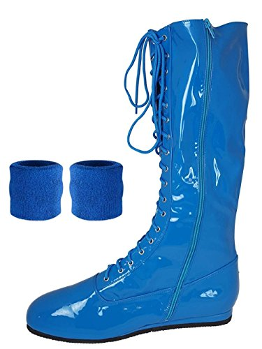 (Blue, Large) Pro Wrestling Costume Boots with Matching Sweatbands