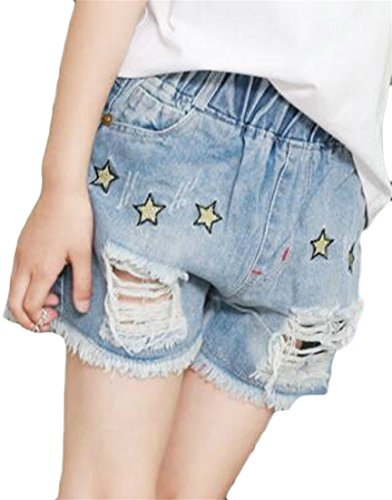 Papijam Girls Faded Washed Elastic Rise Cut Off Thin Thin Denim Shorts Blue2 7/8 (Girls Washed Denim)