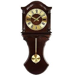 MISC 24h Chiming Wall Clock, Hourly Chimes Royal Cordless Wallclock Pendulum Tiny Antique, Chocolate Brass Glass Wood