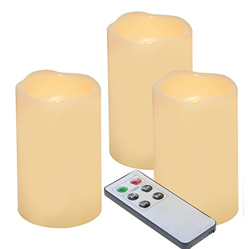"""iZAN 3-Pack Outdoor Flameless LED Battery Operated Candles with Remote Waterproof Flickering Electric Pillar Candles for Halloween Chirstmas Home Wedding Party Festival Décor Long Battery Life 3""""x5"""" ()"""
